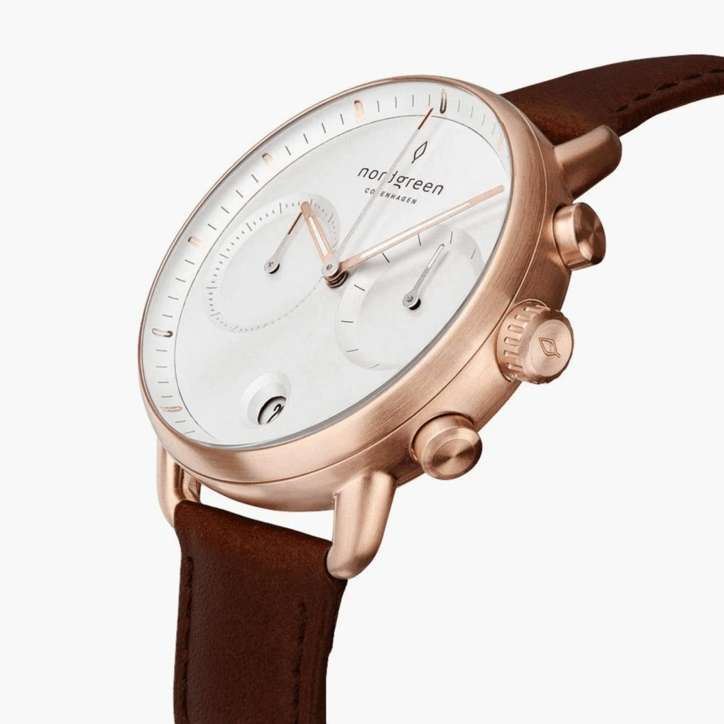 Nordgreen Pioneer White Dial Dark Brown Leather Strap